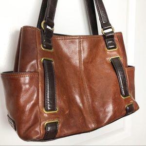 Tignanello | Two Tone Leather Shoulder Tote Bag
